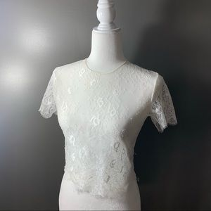 LF SEEK THE LABEL white lace sheer crop top